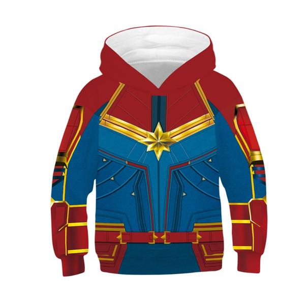 Çocuklar 3D Kaptan Film Hoodies Erkek Kız Carol Danvers Süper Kahraman Uzun Kollu Kapşonlu Swearshirts Çocuk Kız Erkek Kurt T Gömlek