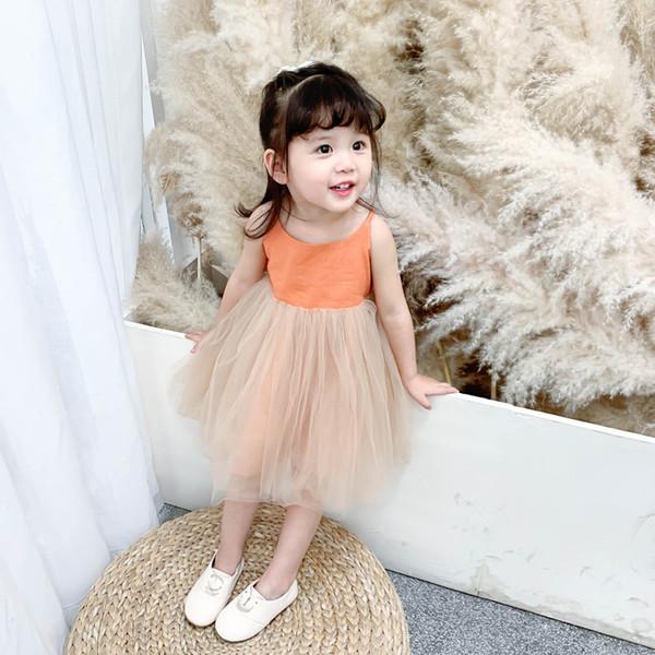 2019 Vestido Infantil Baby Girl Dress Han Edition Summer Girls Brim Condole Belt Veil Fashionable Bitter Fleabane Princess