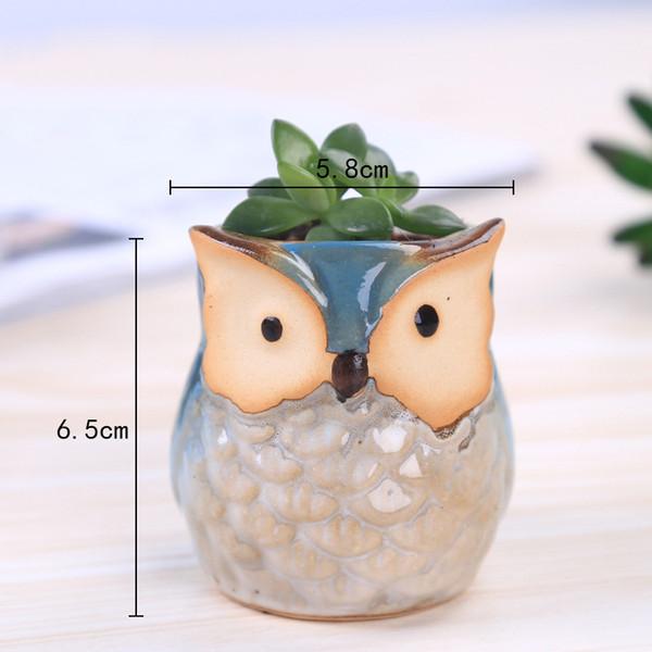 Creative mignon conception maison jardinage en céramique chouette forme bureau personnalité en céramique artisanat bureau décoration de la maison pot de fleur