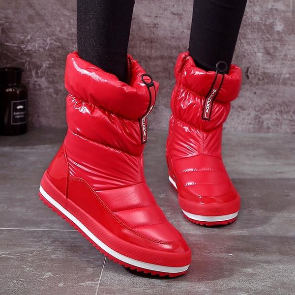 selección especial de moda mejor valorada textura clara Compre 2019 Zapatos De Lluvia Rojos Para Mujer Botas De Nieve Botas De  Plataforma De Invierno Abajo Cremallera Botines Calientes Para Las Mujeres  ...