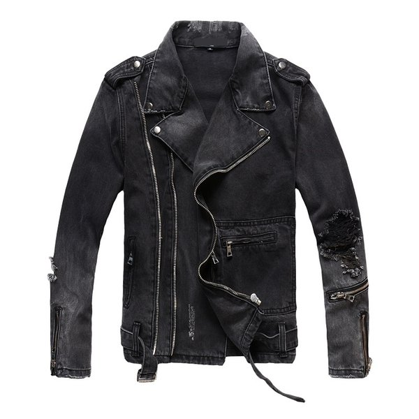 New France Style #403 Mens Distressed Zippers Destroyed Moto Biker Black Denim Jacket Size M-4XL