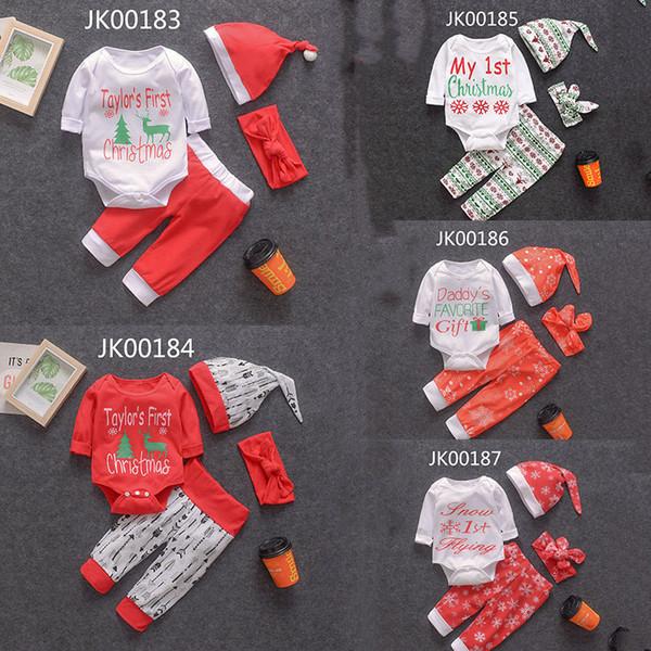 2019 Yeni Bebek Giyim Setleri Kar Tanesi Benim Ilk Noel Baskı Kıyafetler Noel romper + pantolon pantolon + şapka + kafa bandı 4 adet / takım Bebek Suit M211