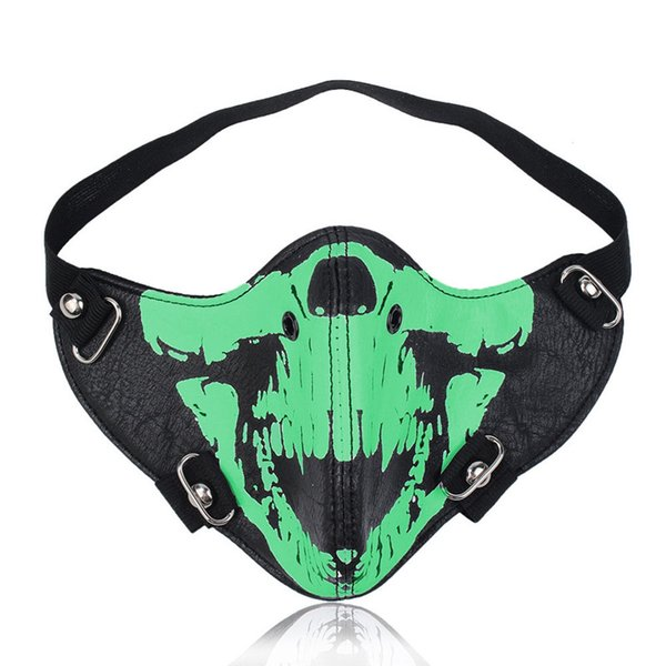 Luminous Locomotive Mask Personality Leather Skull Mask Hip Hop Fashion Trend Dust Mask Newest Hot Sale