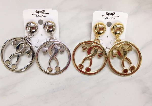 New European and American MOS Earrings nightclub exaggerated question mark Round Earrings 19052009