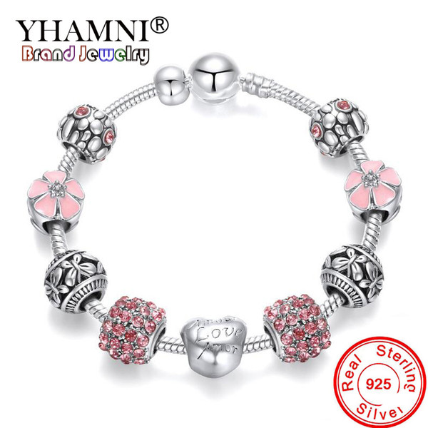 top popular YHAMNI Fine Jewelry 925 Solid Silver Charms Bracelet Bangle For Women Crystal Flower Beads Fit Original Bracelets Jewelry BR052 2021
