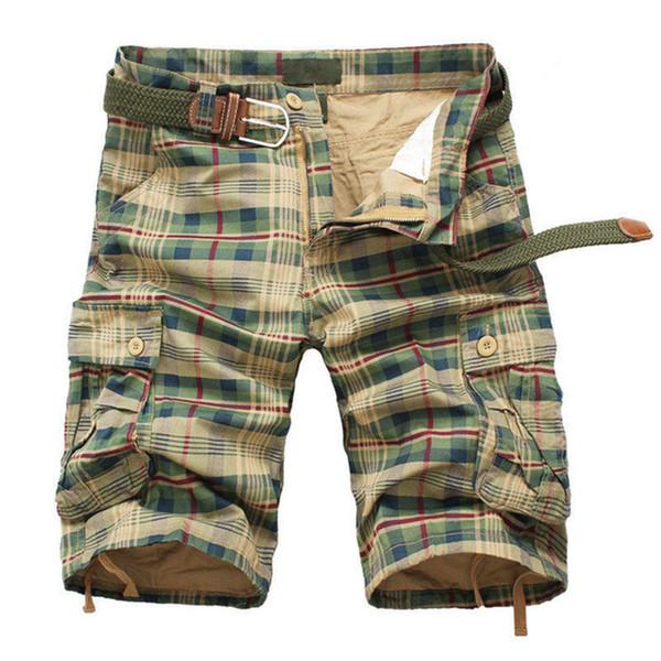 Erkek Şort 2019 Moda Ekose Plaj Şort erkek Rahat Camo Kamuflaj Şort Askeri Kısa Pantolon Moda Erkek Bermuda Kargo