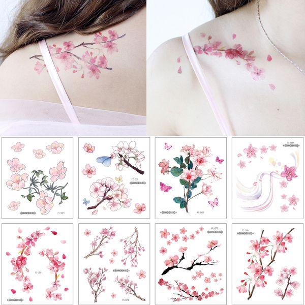 Малый Cherry Blossom Цветок Декаль татуировки Простой цвет рисования Body Art плеча ключицы Arm рук Дизайн Водонепроницаемый Временные татуировки наклейки