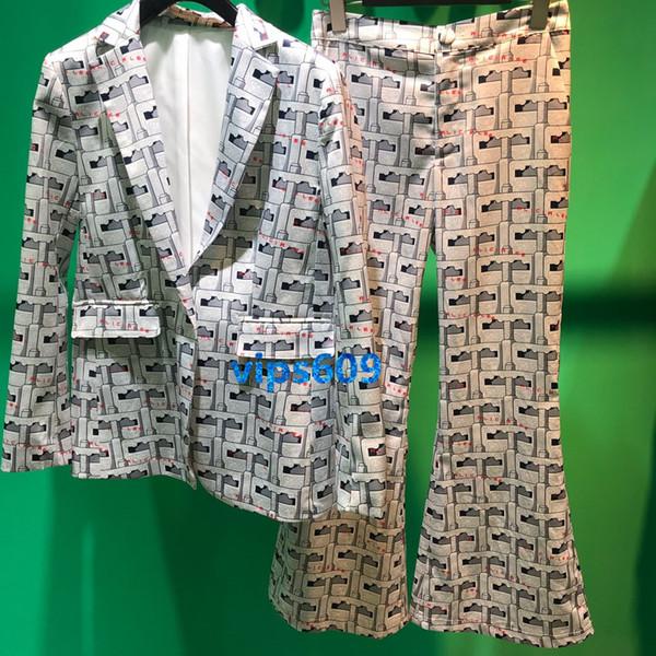 Le donne tuta pantaloni set risvolto manica lunga Plaid stampa modelli geometrici pulsante piccolo vestito giacca pantaloni pantaloni semplici pantaloni lunghi set