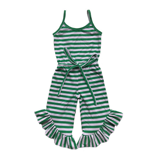 Newest Baby Girls Jumpsuit Summer Green Red Black Stripe Ruffle Pant Girls Romper Toddler One Piece Outfit 1-6t J190524