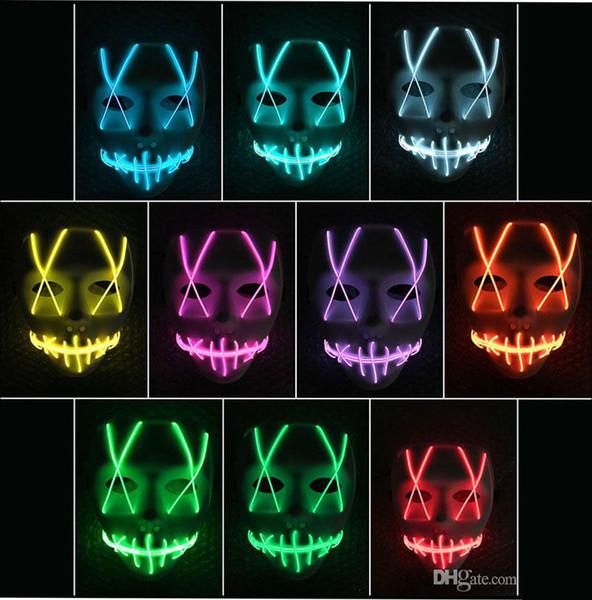 LED Masque Masque drôle bande Led néon flexible signe Glow Light EL Wire Rope Neon Light Halloween visage contrôleur lumières de Noël