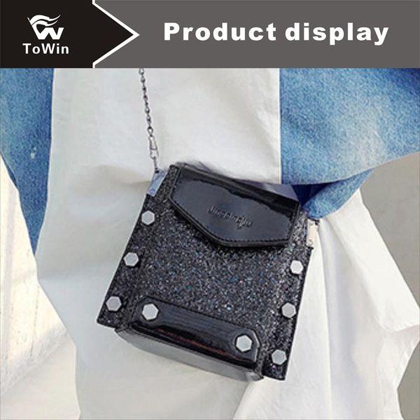 Classic Sequins Mini Handbag High Quality PU Leather Flap Bag Ladies Shoulder Bag Patent Leather Messenger Bags Wallet Tote Purse Free Ship