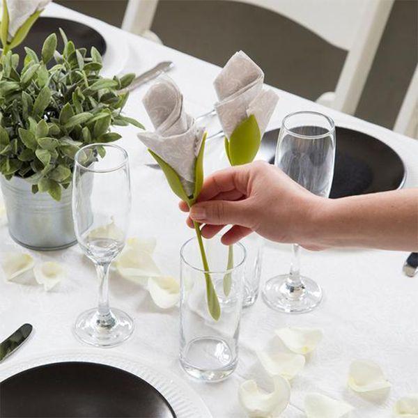 Acheter Porte Serviettes Diy Papier Rose Fleur En Plastique Branche Serviette Holder Rack Serviette Clip Table Restaurant Party Decor De 3941 Du