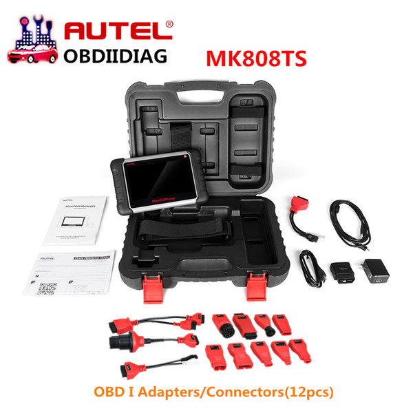 Autel MaxiCOM MK808TS MK808 TS TPMS Reset Activation Programming Tool &All System OBD Diagnostic Tool with OBD I Adapters(12pcs)