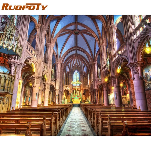 RUOPOTY Frame Landscape DIY Painting By Numbers Kit Notre Dame De Paris Paint By Numbers For Home Decors Wall Art Picture Gift