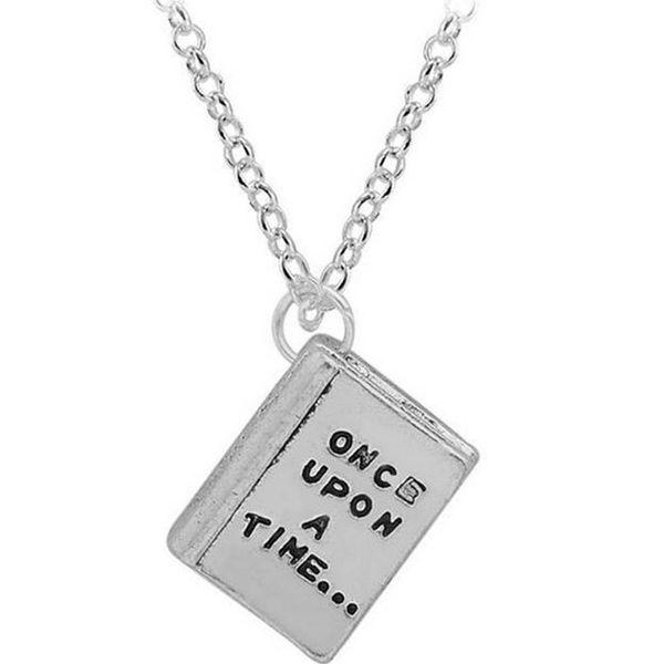 Collana d'argento antica del fiaba del libro della collana del pendente di fascino una volta sul regalo dei monili delle donne