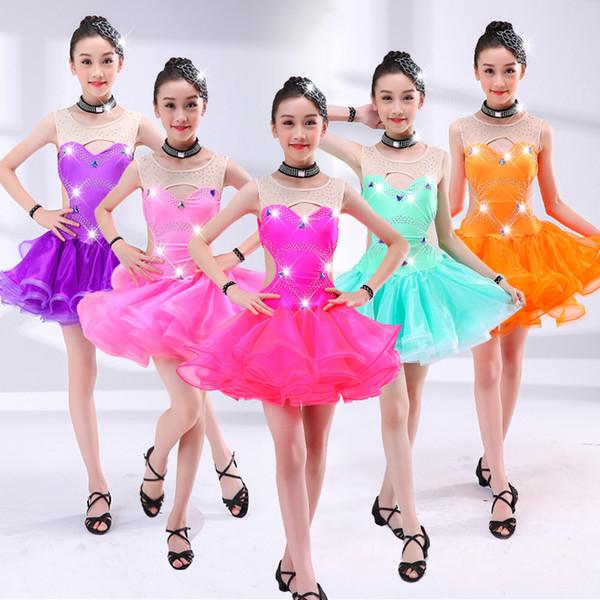 Nueva moda para niños trajes latinos niñas tiran la competencia de niños ropa de baile niñas ropa de rendimiento latino