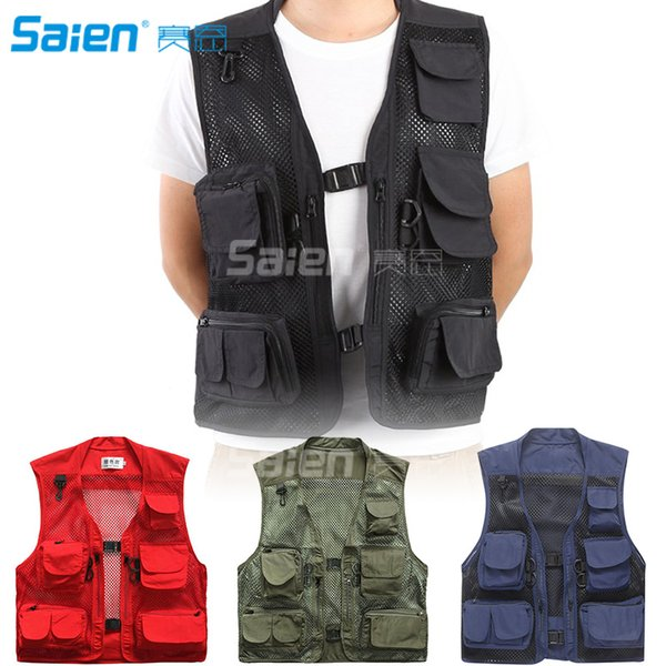 Outdoor Quick-Dry Fishing Vest Multi Pockets Mesh Vest Fishing Hunting Waistcoat Travel Photography Jackets