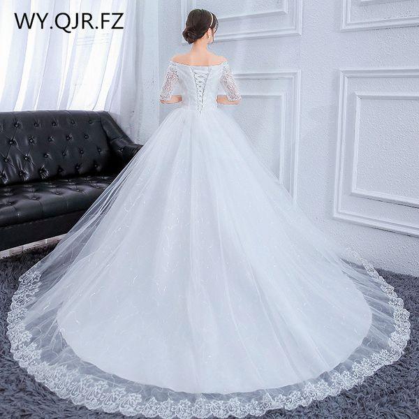 YC-H79T # Boat Pescoço Trailing rendas até longo vestido de festa de casamento plus size vestidos de noiva brinde de casamento branco atacado mulheres
