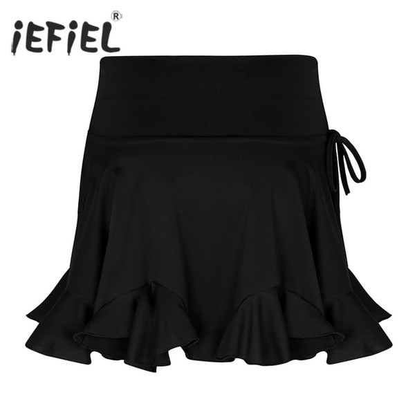 New Womens Latin Dance Skirts High Waist Dancewear Tango Rumba Skirt Adult Female Competition Performance Costume Dance Skirt