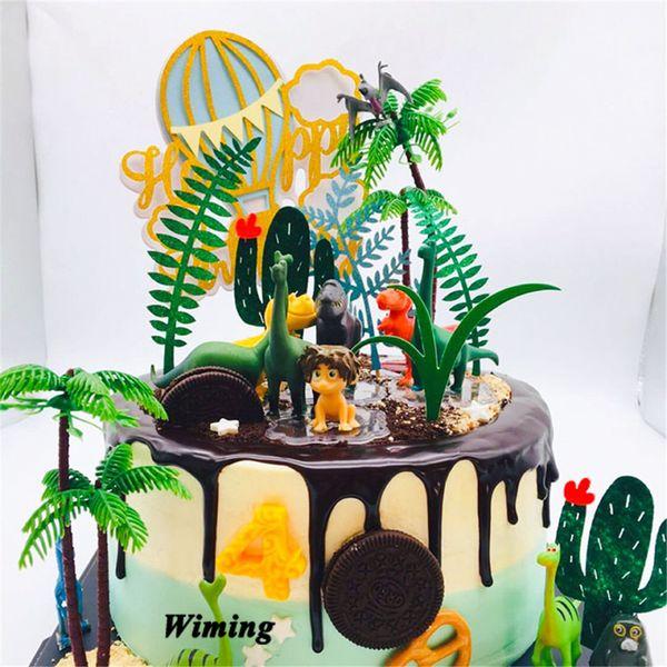 cake topper birthday dinosaur first birthday boy kids baby children toys small gifts 3d animal dinosaur cake topper