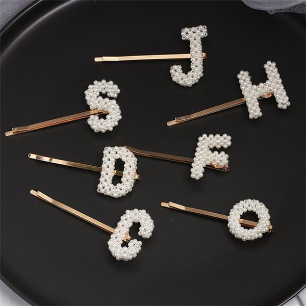 Neue handgemachte Webart-nachgemachte Perlen-Englisch Brief für Frauen Mode Haarschmuck Alphabet Haarschmuck T491