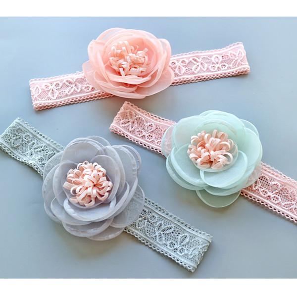 New Korean Fashion Baby Headbands lace Girls Headbands floral Head Bands Infants Newborn Headbands Flower Children Hair Accessories A1971