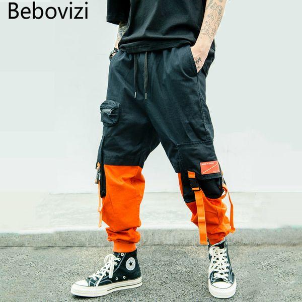 Bebovizi Harajuku Hip Hop Streetwear Harem Pants 2019 Male Trousers Mens Pocket Casual Patchwork Joggers Pants Swag Sweatpants
