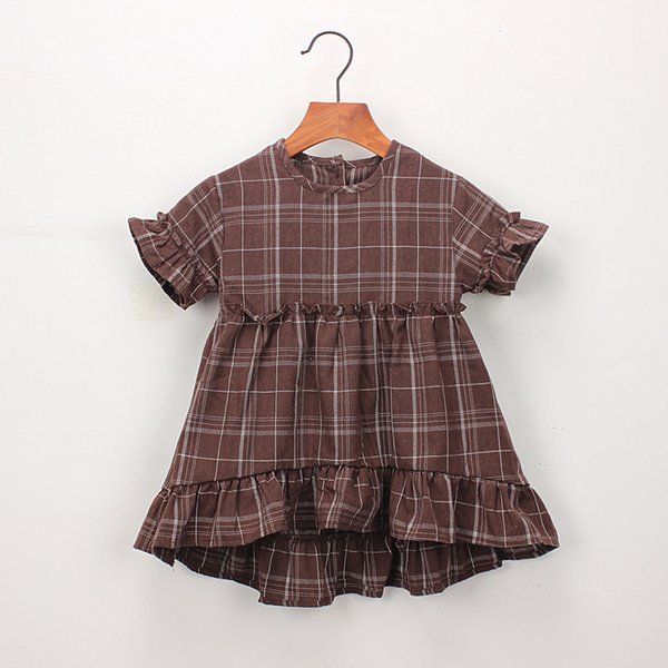 Everweekend Cute Kids Girls Plaid Ruffles Fly Sleeve Party Dress Colore bianco marrone Estate dolce bambini Abiti BY0855