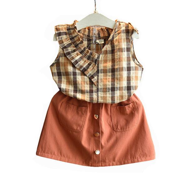 Las muchachas de los niños del verano de la venta caliente 2019 se adaptan a la falda del marrón de la camisa de tela escocesa de la fan de la marea