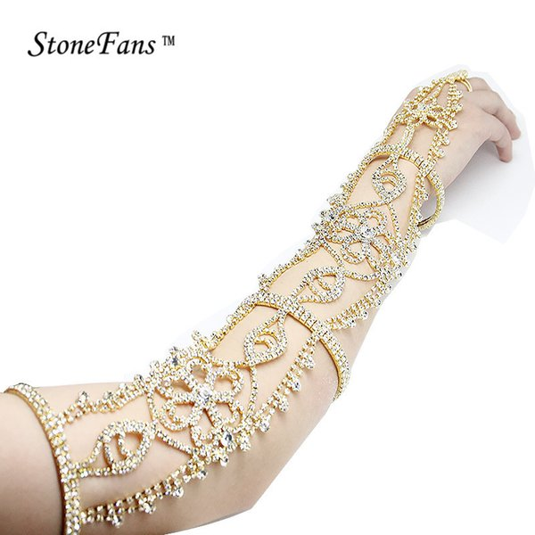 Stonefans Longue Strass Bracelet Cristal Brassard Supérieur Brassard Bracelets Chaîne Fleur Bracelets De Mariée Mariage Bracelets Femmes Y19051101
