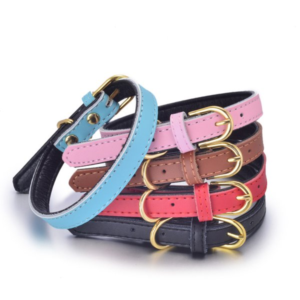 Cow Leather Soft Dog collar Pet Cat Puppy Collar Neck Adjustable Golden Buckle Strap Cut Necklace stitching Safety Genuine leather