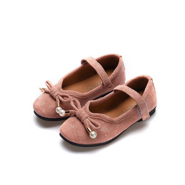 Otoño niños niñas Zapatos de gamuza Bead bowknot Zapatos de niños para estudiantes Niños Doug zapatos bebés rosa negro gris vino rojo
