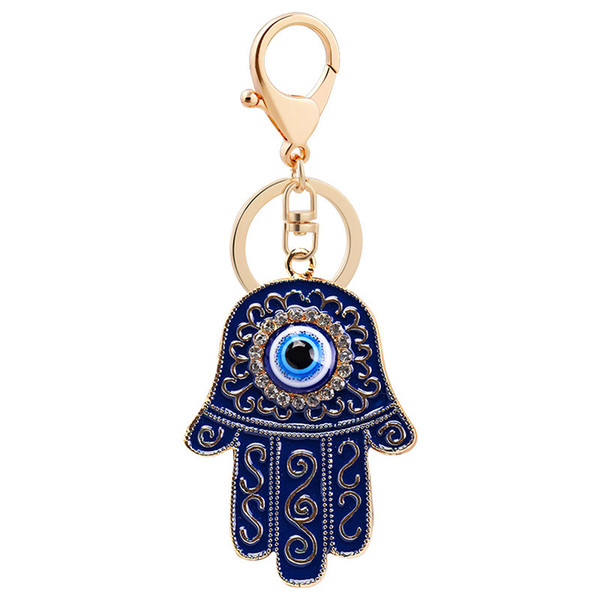 Turky Mascot Amulet Blue Evil Eye Fatimah Khamsah Hand Pendant Keychain Ring Car Key Holder Religious Protect Islamism Prayer Muslim Jewelry
