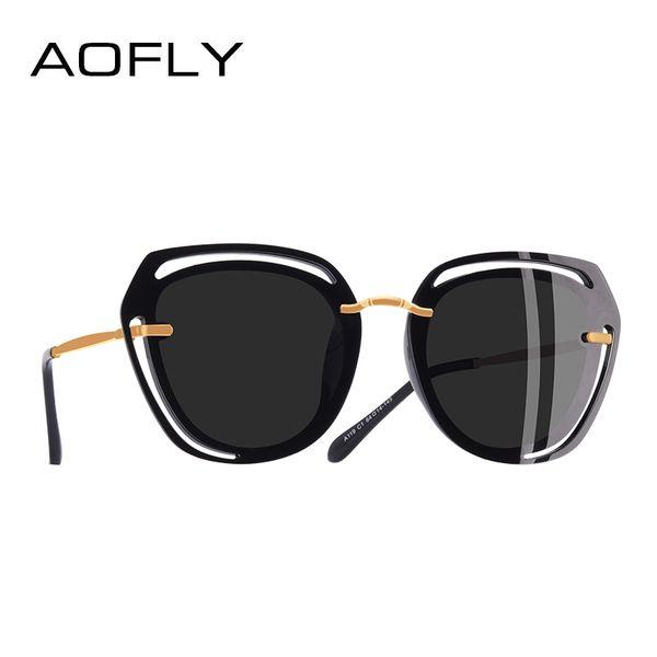 Großhandel marke design platz sonnenbrille weibliche mode aushöhlen rahmen polarisierte sonnenbrille frauen shades a119