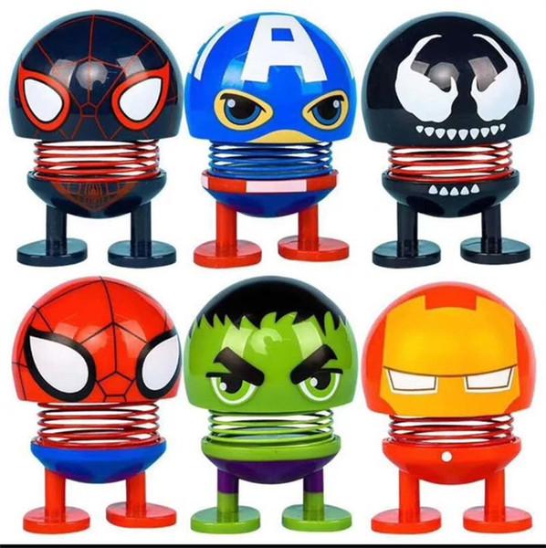 Cteative Avengers Sacudiendo la Cabeza Muñecas Red Spider Increíble Hulk Multi Carácter Juguetes Fit Home Car Decoartion 2 2yy E1
