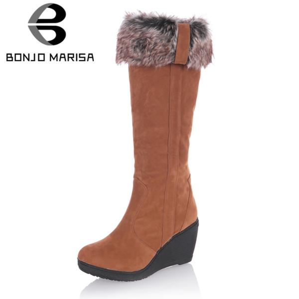 BONJOMARISA nuevas cuñas tacones altos de sólidos zapatos de plataforma redonda del dedo del pie para las mujeres calientes de la venta Casul Botas de invierno de 3 colores