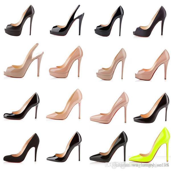 fonds design de luxe talons hauts fond rouge femmes mode plate-forme sandales coins pompe chaussures habillées en cuir verni noir bout pointu nu