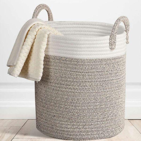 Nordic Cotton Rope Hamper Clothing Storage Basket Toy Debris Storage Basket Bedroom Collapsible Organizer Large Laundry Bucket T190708