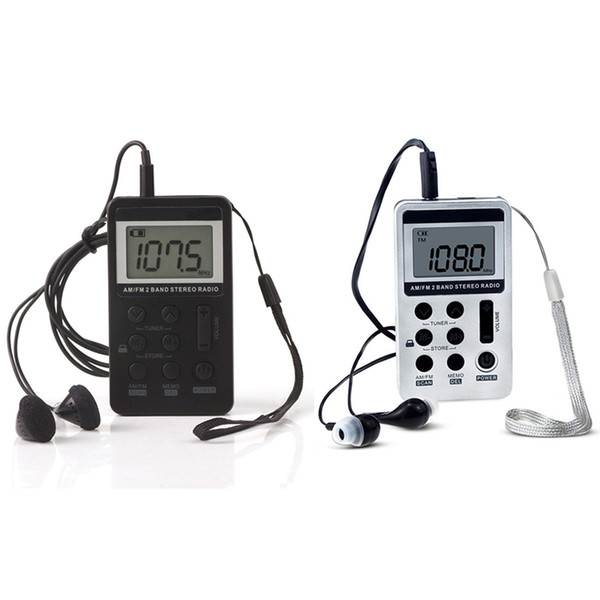 Mini portátil Radio portátil FM / AM Receptor digital con batería recargable Auricular Radio + Cordón