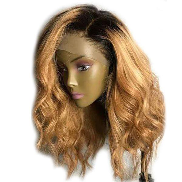 #1B/27 Ombre Hair Shoulder Length Body Wave 13*4 Lace Front Human Hair Wigs Brazilian Remy Short Bob Wigs for Women