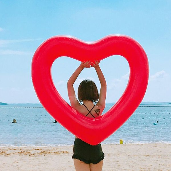 1pcs Giant Heart Shape Inflatable Floating Toy Swimming Ring Pool Rafts Summer Beach Party Kids Beverage Phone cup Holders