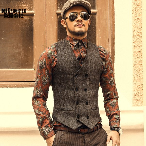 Mens Double Breasted Dress Men Formal Grey Suit Gilet Vest Slim Business Jacket Tops Homme Spring M51 Q190521