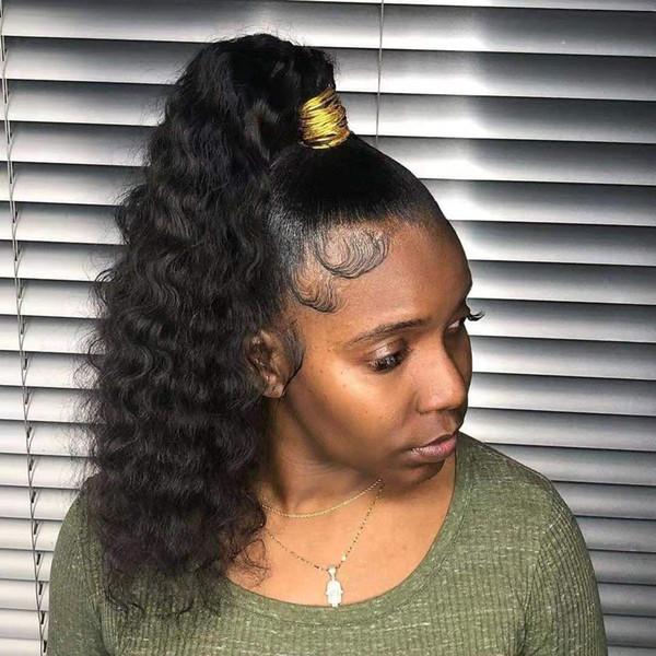 Onda frouxa rabo de cavalo peruca suave para as mulheres negras curto alto encaracolado rabo de cavalo indiano extensão do cabelo remy clipe de cordão em preto natural 1b