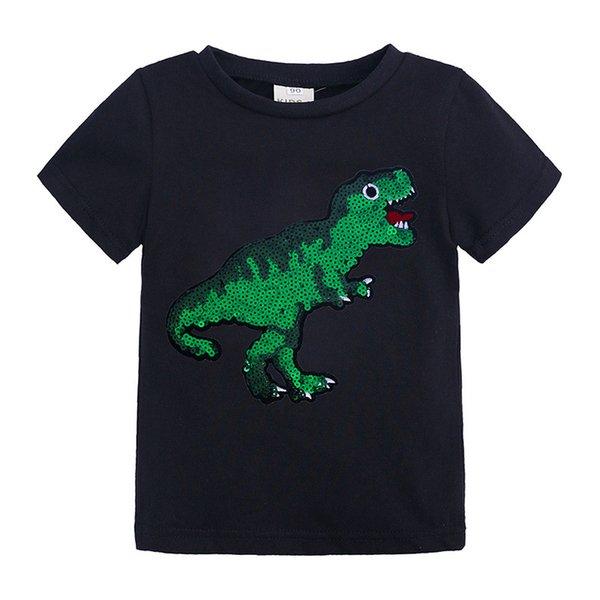 Hot children's t-shirt 2019 summer cross-count ins round neck short-sleeved cartoon sequins T-shirt cotton casual children's clothes