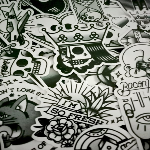 Cheap Stickers 30 Pcs Restoring Ancient Ways Black And White Sticker Graffiti Punk JDM Cool Stickers For Kids Sticker on Laptop Bike Helmet