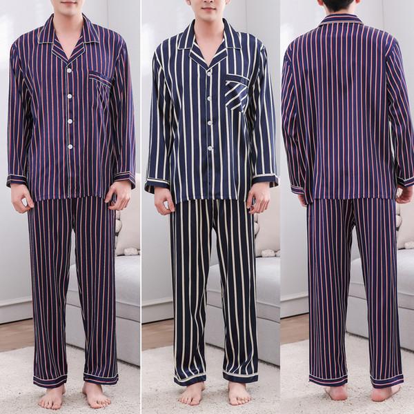 2019 New Drop Shipping Men Casual Spring Stripe Impressão de Manga Comprida Confortável Casa Pijama Set 23 #