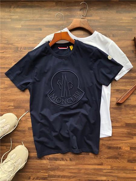 19SS Mengkou Severler Unisex Pamuk Tişörtleri Paris Nakış Crewneck Kısa Kollu Yaz Tee Nefes Yelek Gömlek Streetwear Açık T-shirt