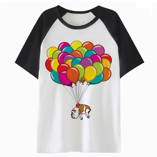 Artistic bulldog Balloon t shirt streetwear top clothing male men hip tee tshirt funny harajuku hop t-shirt for QF4036