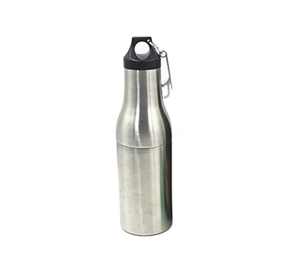 12oz Beer Bottle Stainless Steel keeper Armour Bottle Vacuum Cooler Insulator with Bottle Opener DHL FEDEX Free