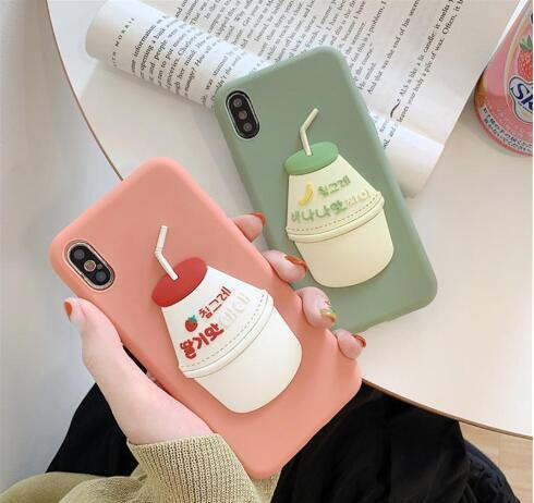 Japan South Korea 3D Cute Sweet Banana Milk Strawberry Drink silicone cover case for iphone MAX XS XR 6 7 8 plus X phone cases
